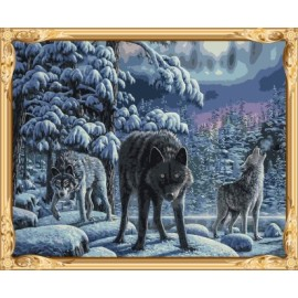 Gx7466 paisaje de nieve lobo pintura al óleo by números kits para el dormitorio decoración