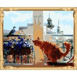 Óleo de la lona gato y pájaro pintura by números kits para el dormitorio decoración GX7556