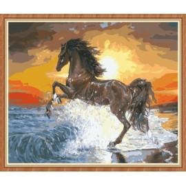 kunsthandwerk Rennpferd digitale Ölgemälde Meer für wohnkultur gx7838