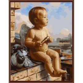 acryl Öl auf leinwand gemälde von nummer mit engel baby design gx6404 yiwu kunst lieferanten