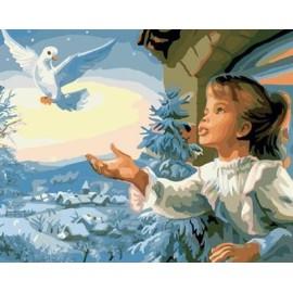 malen nach zahlen für den großhandel kleines Mädchen und vogel bild kunst malerei gesetzt gx7056 kunst lieferanten