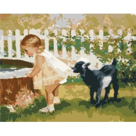 diy malen nach zahlen für schlafzimmer gx7140 2015 neue Foto kleines Mädchen und hund design