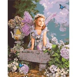 Diy malen nach zahlen kleines Mädchen und Blumen-Design 2015 neue heiße foto gx7154
