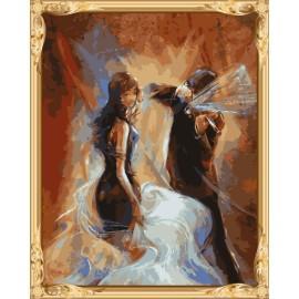 Colorear by números de mujeres boda del hombre y pintura al óleo de la decoración del hogar GX7351