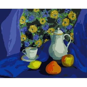 handmaded Öl malen nach zahlen stillleben früchte und blumenvase design gx6579