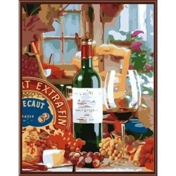 handmaded acryl stillleben malen nach zahlen kit mit einer Flasche Wein bild gx6525