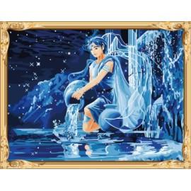 Gx7447 constelación aquarius series hechos a mano digital pintura al óleo de la decoración del hogar