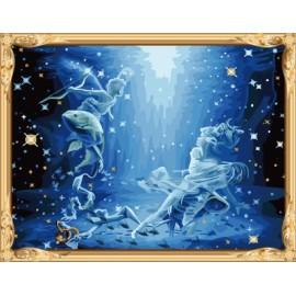 Gx7445 piscis serie constellation hechos a mano digital pintura al óleo de la decoración del hogar