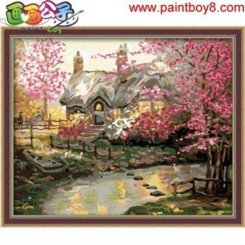 Diy Öl malen nach zahlen, landschaft Ölgemälde, moderne Ölgemälde neue blume foto