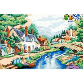 diy Öl malen nach zahlen Dorf landschaft Ölgemälde auf leinwand