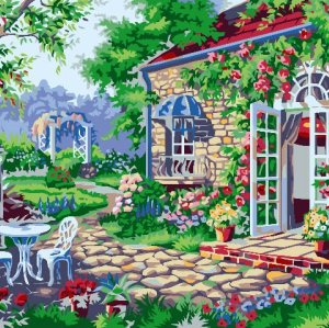 G187 garden landscape painting on canvas Diy oil Paint by numbers