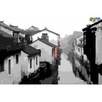 Stadtlandschaft china town Landschaft Öl malen nach zahlen großhandel diy Ölgemälde