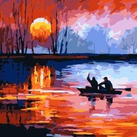 Landschaft Ölfarbe durch die anzahl Ölbild auf leinwand