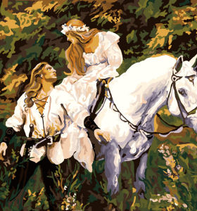 horse design painting by numbers women and horse picture oil painting