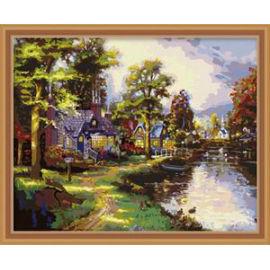 ausgezeichneten Leinwand handgefertigt färbung von Zahlen diy malen nach zahlen Landschaft abstrakten malerei