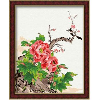 Diy Ölbilder nach zahlen- Ölgemälde für anfänger- Leinwand Ölgemälde set-diy kunst gesetzt chinesisch blumenmalerei