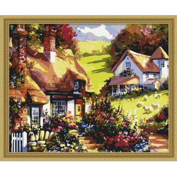 Landschaft diy Öl malen nach zahlen- acrylfarbe neue absract malerei- Lack Junge 40*50cm