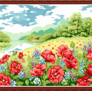 oil painting beginner kit-canvas oil painting set- G196 flower painting by numbers
