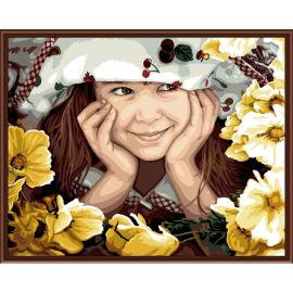 Ausgezeichneten Leinwand handgefertigt färbung von Zahlen- kleines Mädchen foto malerei kunst-kit
