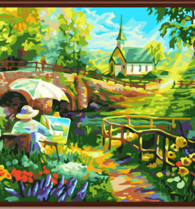 2.5cm thickness wooden frame diy oil painting by numbers kits