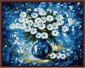 YIWU manufactory in stock white flower canvas oil painting