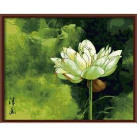 yiwu Hersteller auf leinwand lotusblüte Ölgemälde von nummer