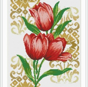 diy diamond painting red tulip flower 2015 new hot photo GZ020