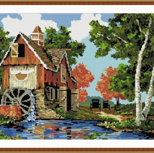 landscape new round diy diamond painting by number with flower picture yiwu factory GZ047