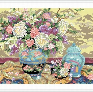 new diy diamond painting by number with flower picture 2015 new hot photo yiwu factory GZ045