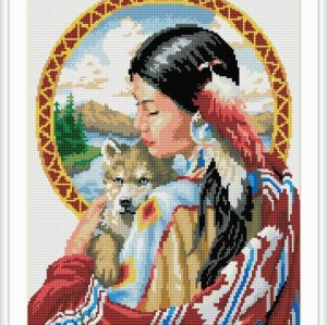 new diy diamond painting by number with women and animal picture 2015 new hot photo yiwu factory GZ044