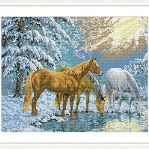 DIY diamond home canvas painting horse picture GZ088