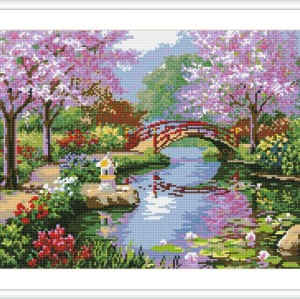 DIY diamond home canvas painting landscape red flower GZ086