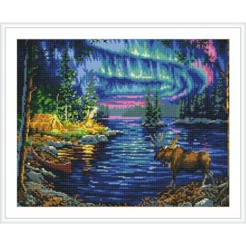 abstrakte diamond mosaik malerei fabrik neue heiße Landschaft Dorf Nacht foto gz108
