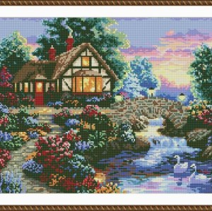 5d new hot sale diy crystal diamond mosaic painting village landscape GZ054