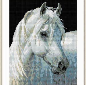diamond painting animal white horse photo yiwu factory GZ069