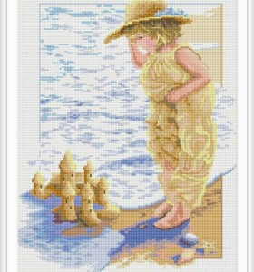 new round diy diamond painting by numbers kids seascape picture GZ050
