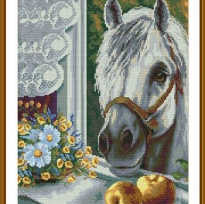 GZ136 OEM white horse 2.5mm full square diamond painting for home decor