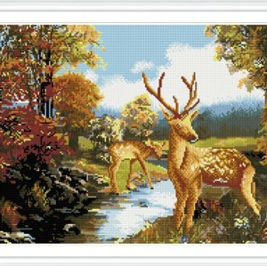 GZ237 wall art deer canvas diamond painting with wooden frame