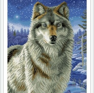 GZ234 wolf stretched canvas diamond painting for hoem decor