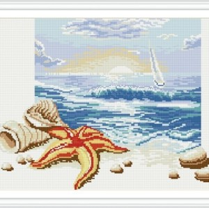 gz271 seascape wandkunst abstrakte voller diamanten malerei auf leinwand