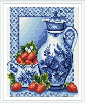 GZ286 still life pot and strawberry diamond painting by numbers on stretched canvas