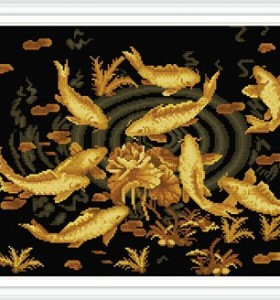 GZ298 golden fish diamond painting embroidery kits for home decorative