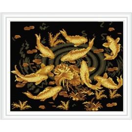 gz298 goldenen fisch diamant malerei stickpaketen für zu hause dekorative