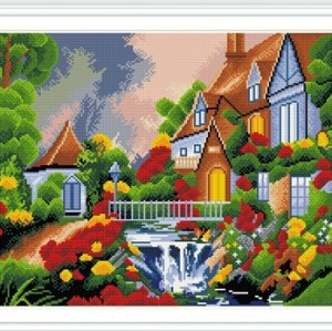 GZ254 landscape full round diamond painting with wooden frame