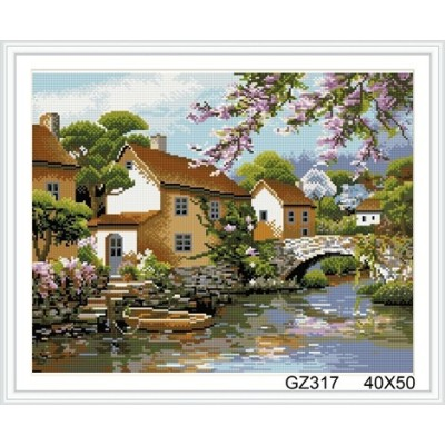 landscape cristal diamond painting with wooden frame xinshixian paint boy brand GZ317