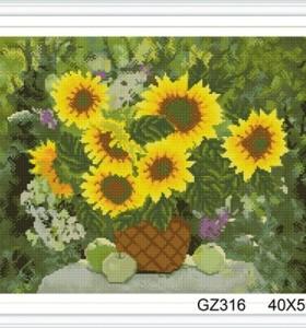 still life sunflower cristal diamond painting with wooden frame xinshixian paint boy brand GZ316