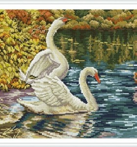 asstract swan diy diamond cristal painting GZ339