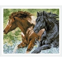 paintboy hot horse photo handwork diamond painting with wooden frame GZ343