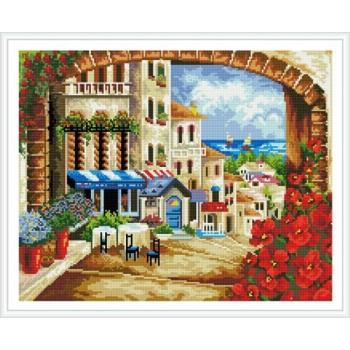 Asstract paisaje diy pintura mosaico de diamantes en la lona GZ338