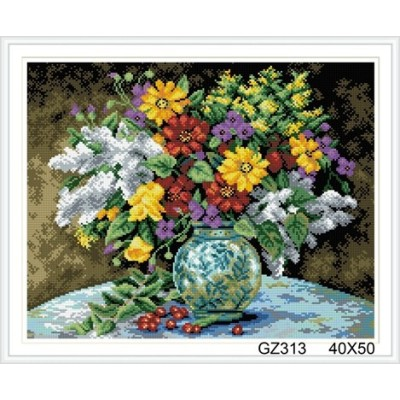 xinshixian paint boy round flower full diamond painting with wooden frame GZ313